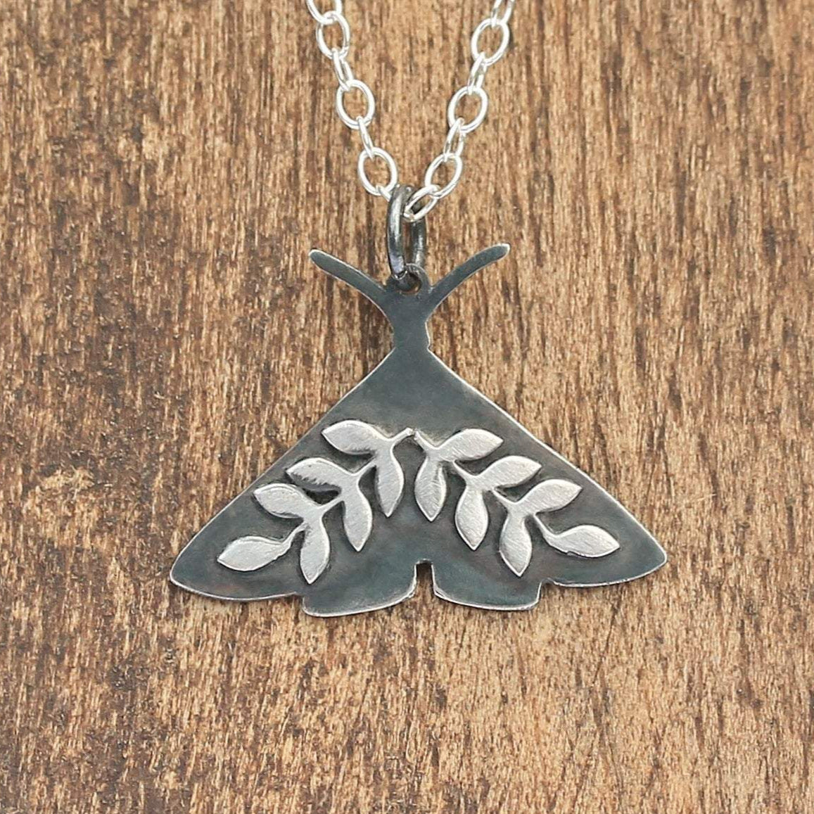 Midnight Sitting Moth Necklace