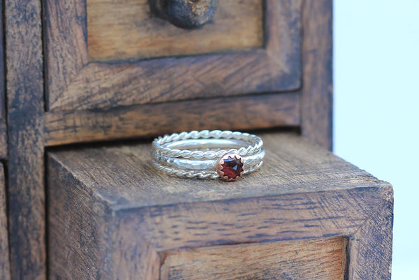 Garnet and Copper Stacking Ring
