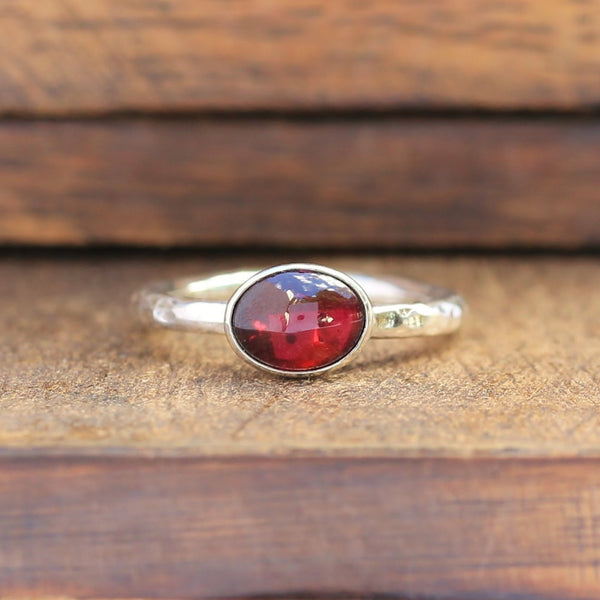 Garnet Oval Stacking Ring