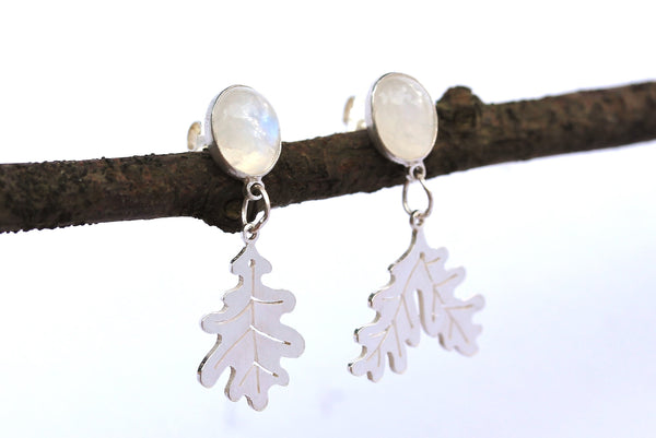 Moonstone and Oak Leaf Drop Earrings