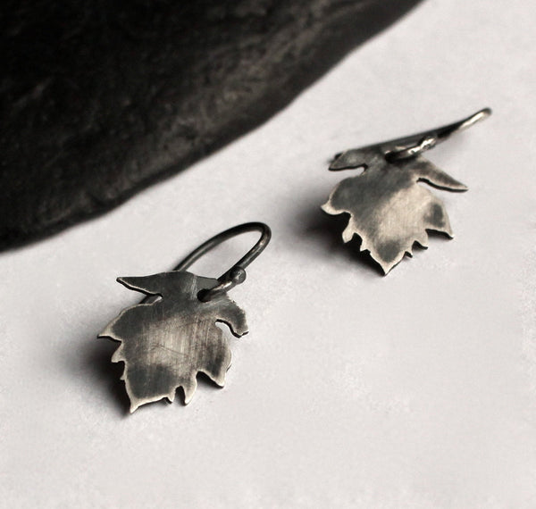 Black Leaf Hook Earrings
