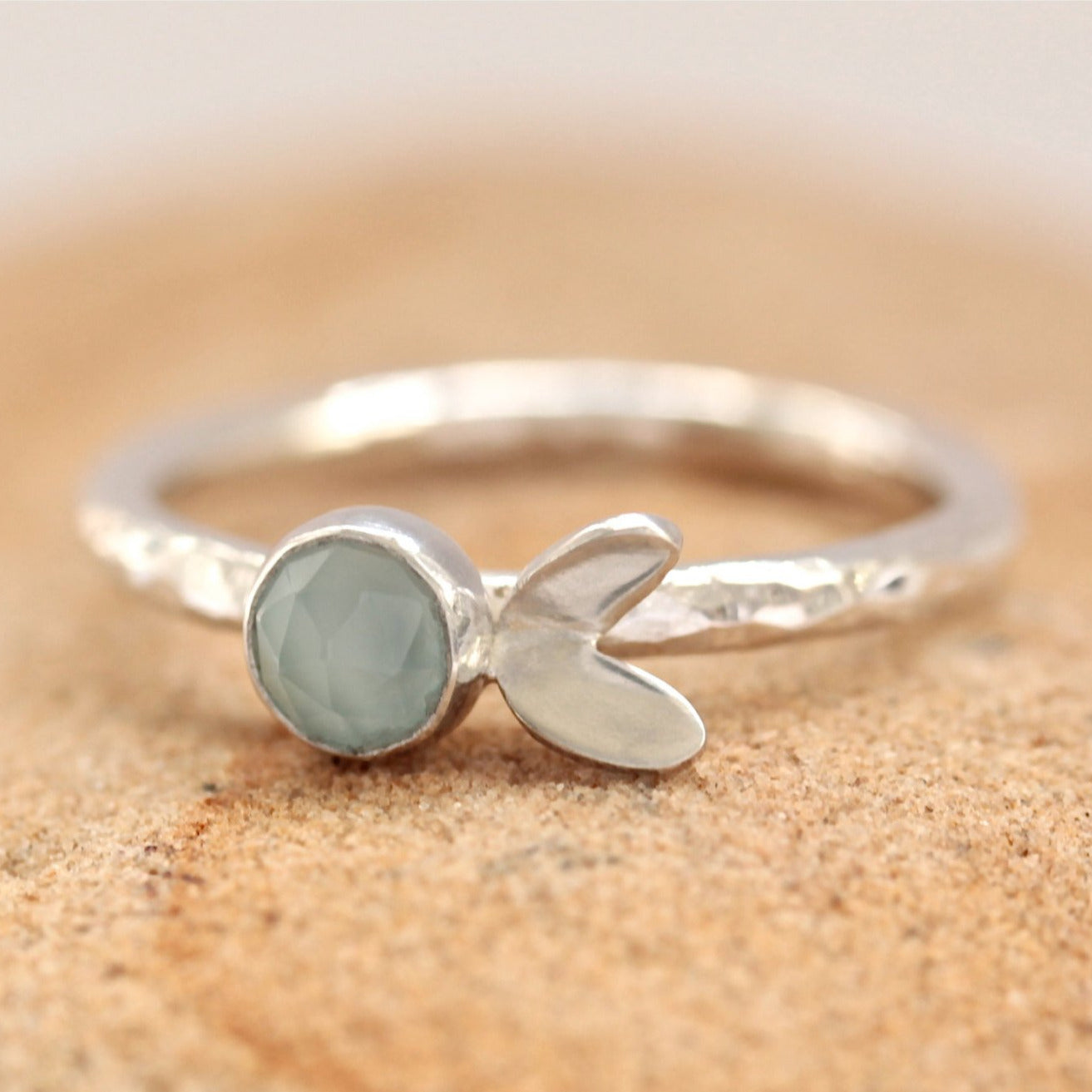 Aqua Chalcedony Cress Leaf Stacking Ring