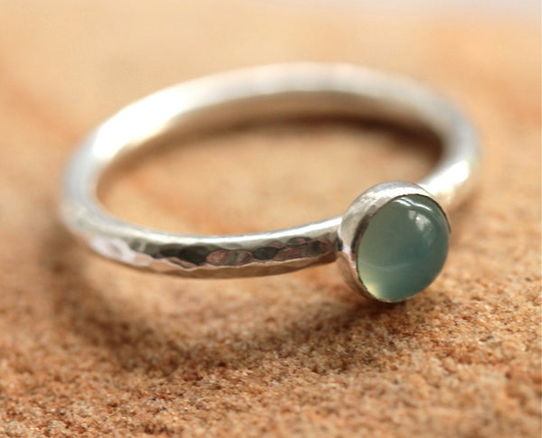 Aqua Chalcedony Silver Stacking Ring