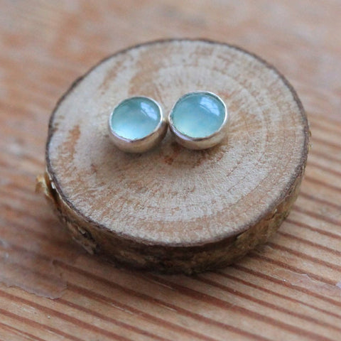 Aqua Chalcedony Stud Earrings