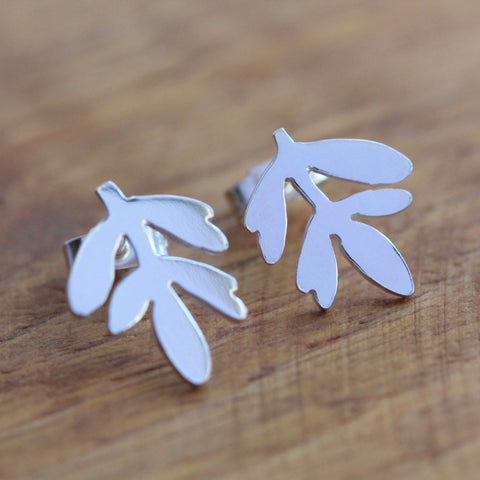 Lavender Leaf Stud Earrings