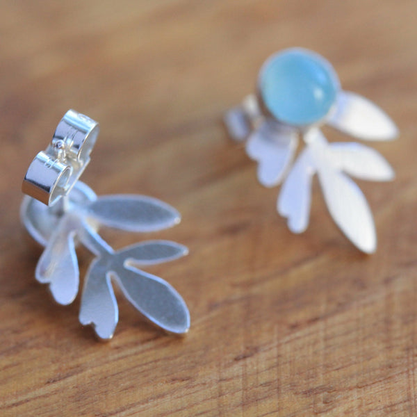 Aqua Chalcedony Lavender Stud Earrings