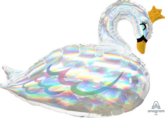 Holographic Swan Foil Balloon