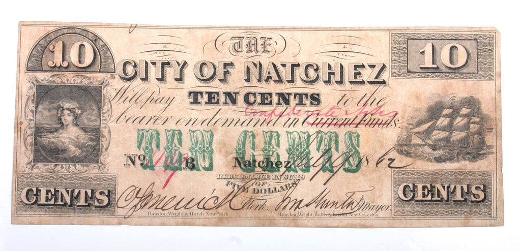 Natchez, Mississippi 10 Cent Note Dated 1862