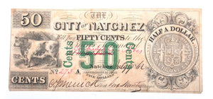 Natchez, Mississippi 50 Cent Note Dated 1862