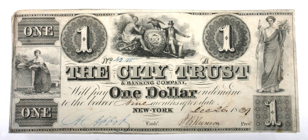 New York $1 Note Dated 1839