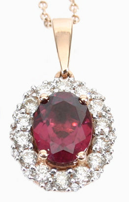 1.42 tcw Rhodolite Garnet and Diamond Pendant