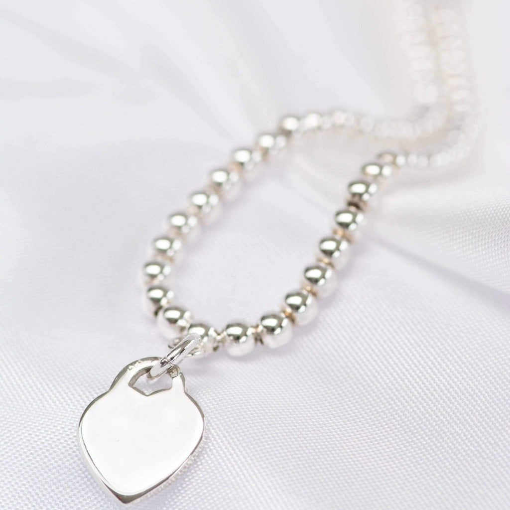 Sterling Silver Stacker Bracelet with heart charm