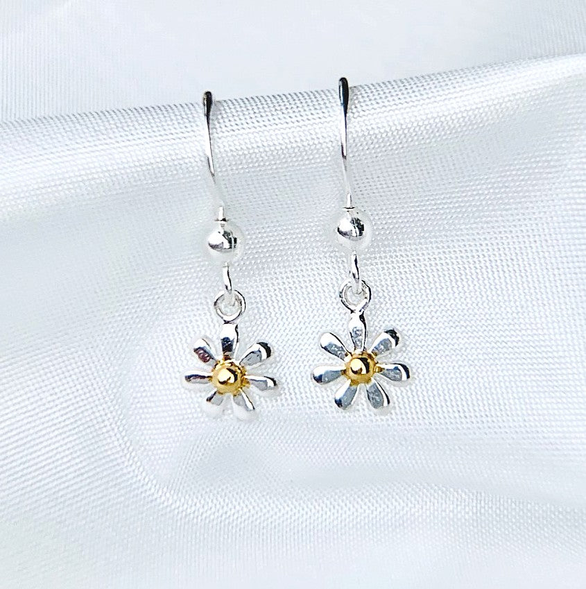 Sterling Silver Flower Earrings with Gold Centre