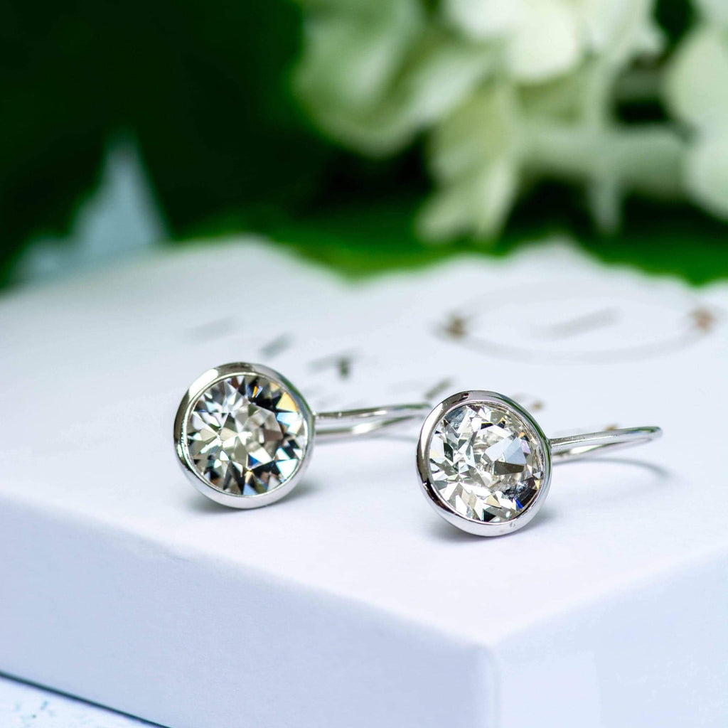 Sterling Silver Sparkling Swarovski Crystal Dangle Earrings