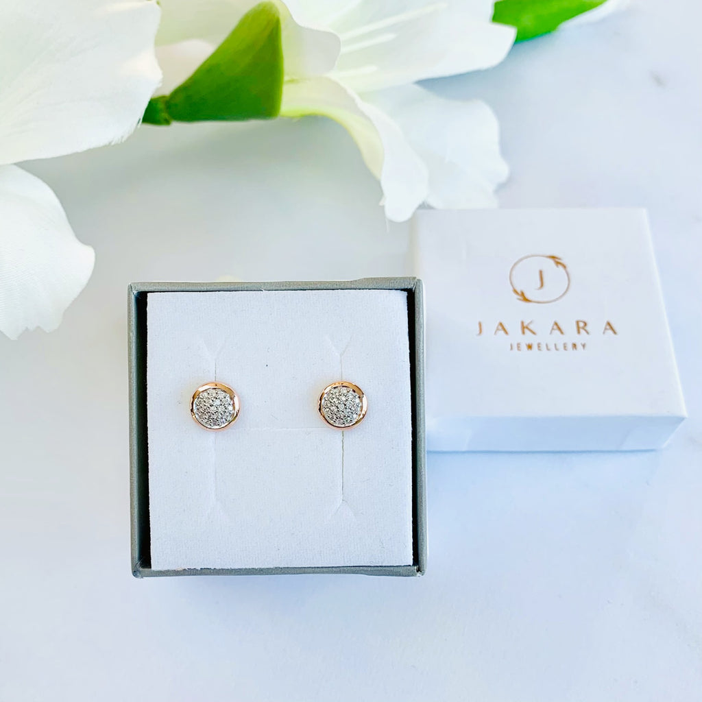 Sterling Silver Rose Gold Pave Stud Earrings