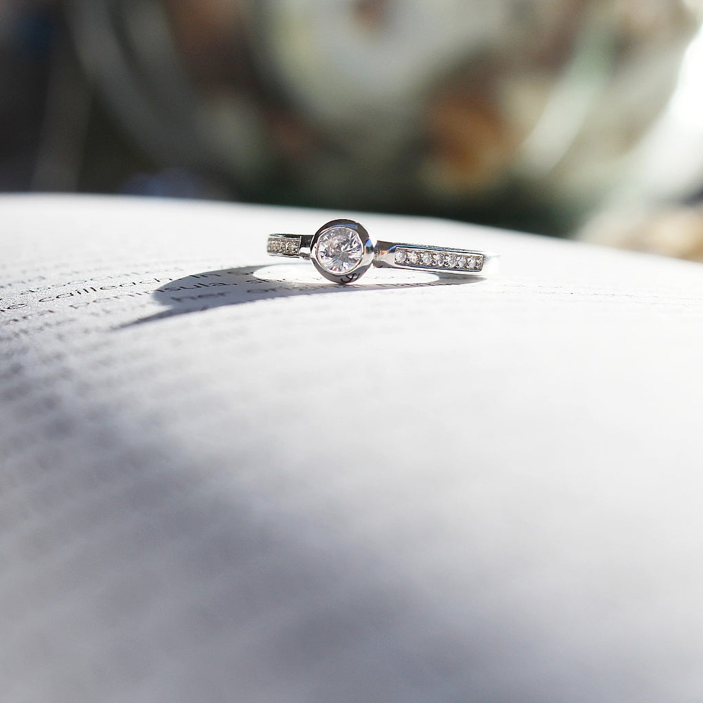 Sterling Silver Solitaire Sparkling Dress Ring