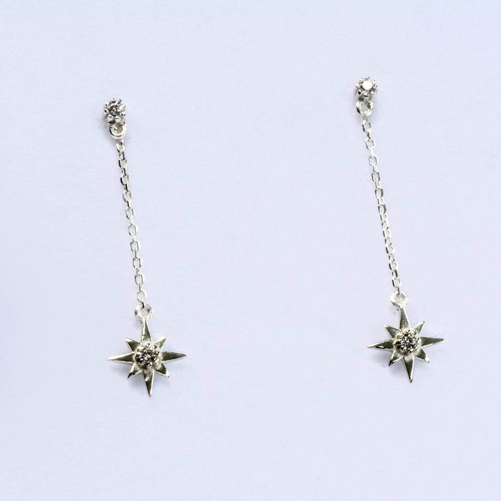 Sterling silver Starburst Dangle Earrings with CZ