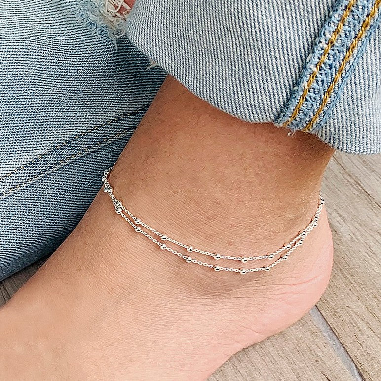 Sterling Silver Double Chain Anklet