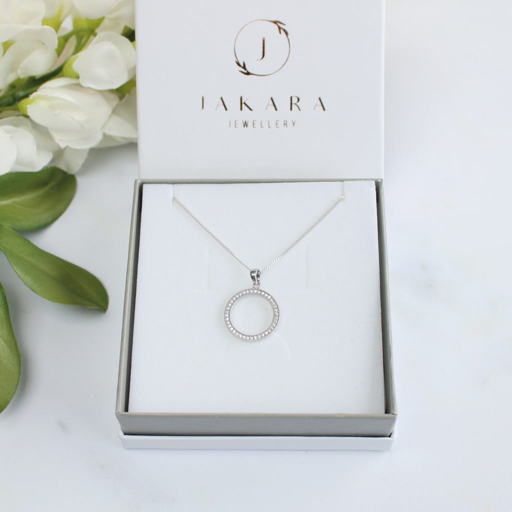 Sterling Silver Pavé Circle Pendant Necklace