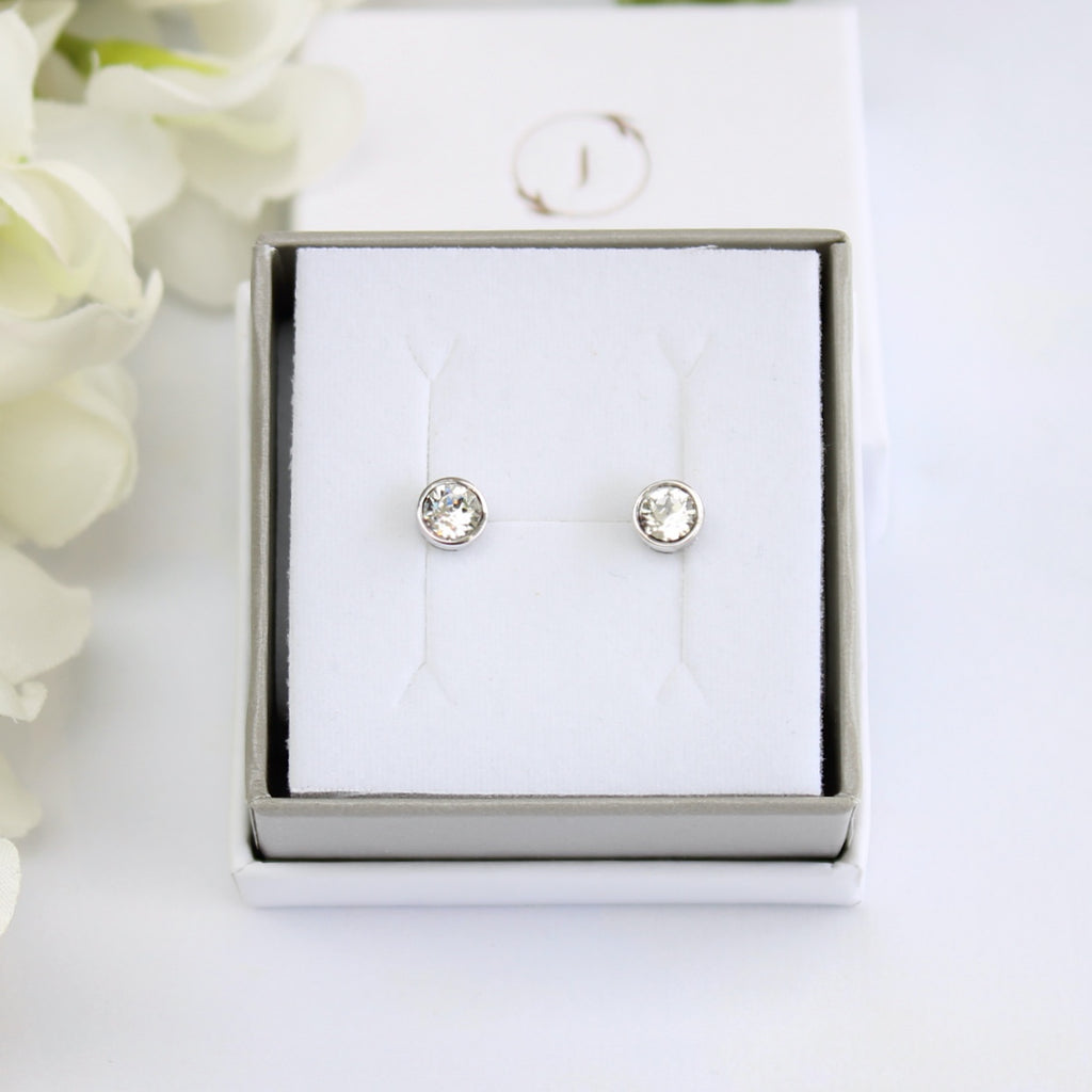Sterling Silver Swarovski Crystal Round Stud Earrings