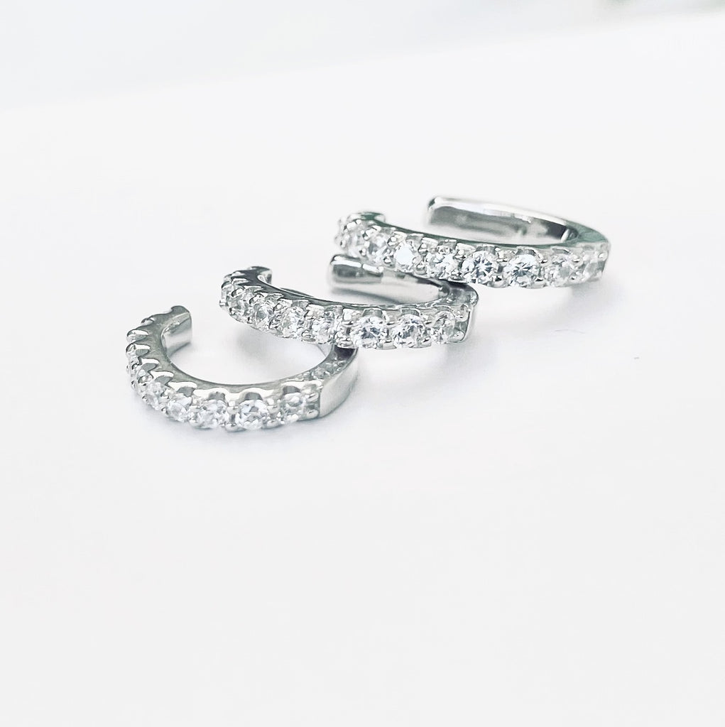 Sterling silver cubic zirconia ear cuffs