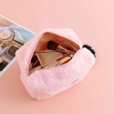 Trousse De Maquillage à Fourrure Rose