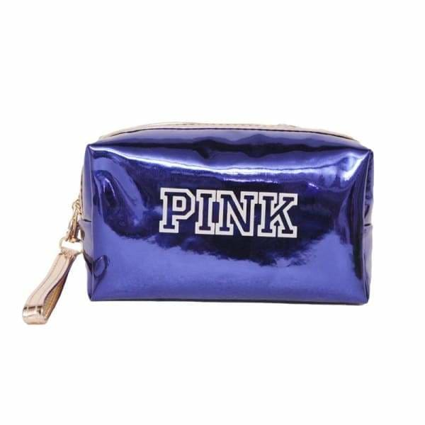 Trousse Maquillage Waterproof Brillante PINK Bleu
