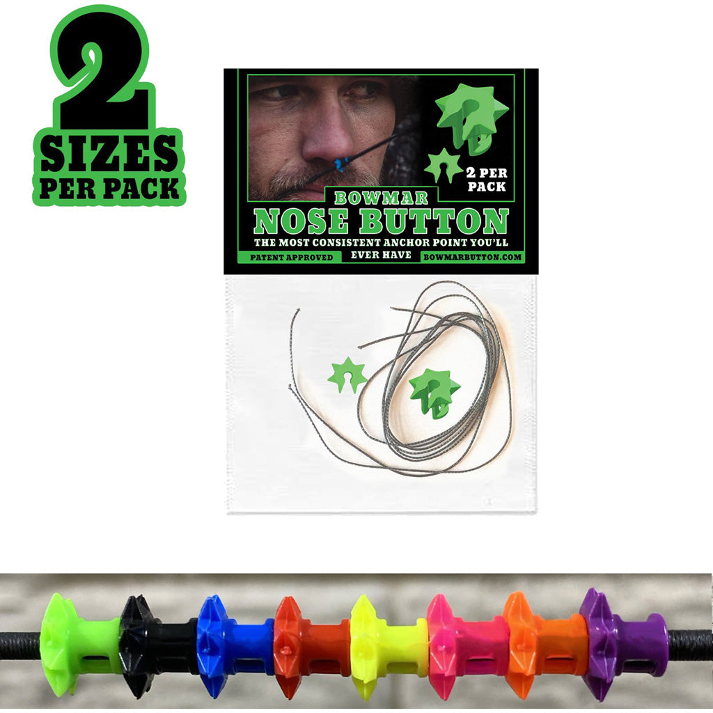 Bowmar Recurve Nose Button Green 2 Pc. Small-large