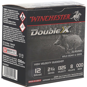 Winchester Double X Buck Shot 12 Ga. 2.75 In. 8 Pellets 000 Buck 25 Rd.