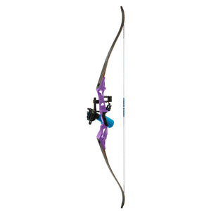 Fin Finder Bank Runner Bowfishing Recurve Package W-winch Pro Bowfishing Reel Purple 35 Lbs. Rh