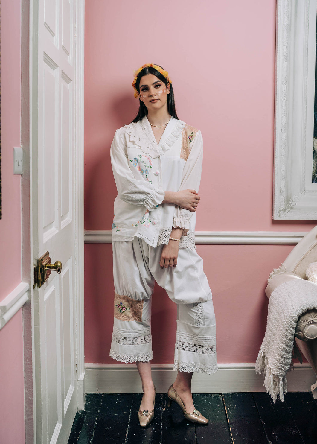 Cotton Patchwork Trousers