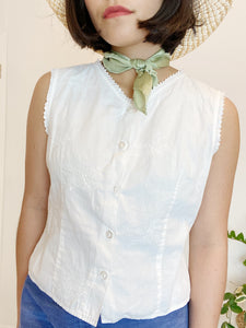 Embroidered Top with Lace Edges