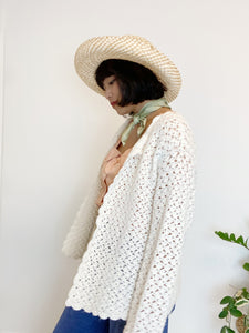 Hand-Crocheted Cream Cardigan