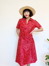 Load image into Gallery viewer, 1970s Crimson Retro Dress