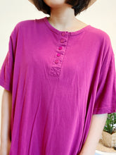 Load image into Gallery viewer, Fuchsia Henley Cotton Dress