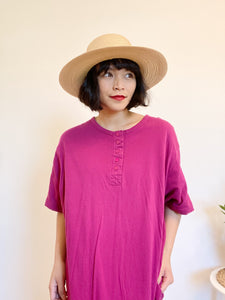 Fuchsia Henley Cotton Dress
