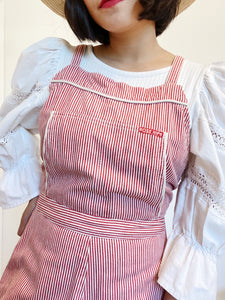 Rose Striped Cotton Shortalls