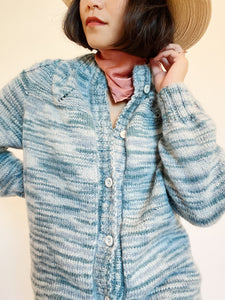 Hand-Knit Blues Button Cardigan