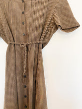 Load image into Gallery viewer, Chocolate Gingham Button Dress
