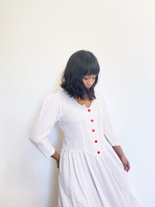 Dotted Sweetheart Puff Sleeve Dress