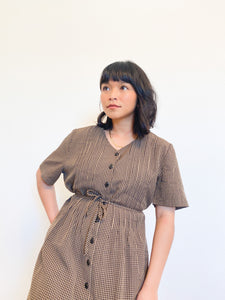 Chocolate Gingham Button Dress