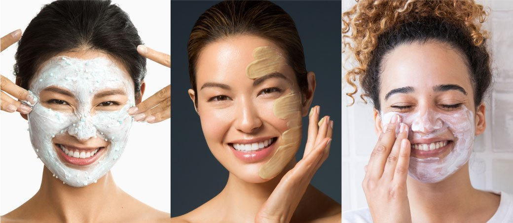 women applying face masks