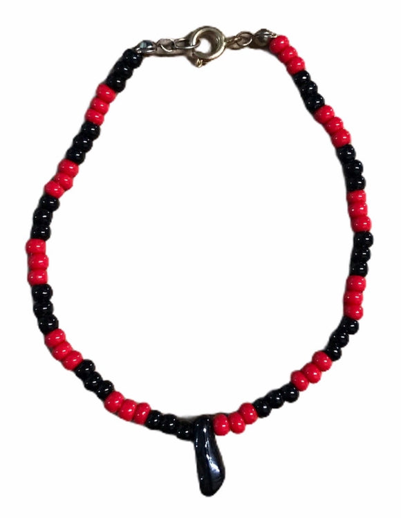 Red & Black Bead Bracelet w/ Foot