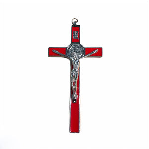 Glossy Red Crucifix w/ Silver Jesus