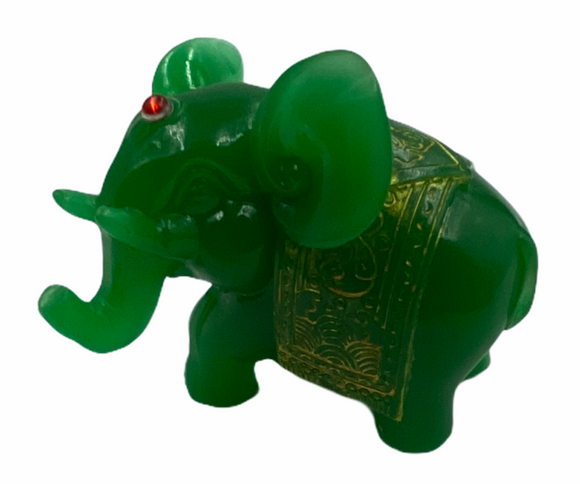 Jade Elephant w/ Gold Detail Statue 2