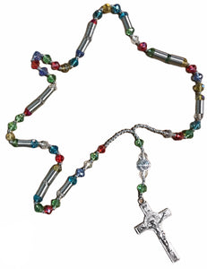 Thick Clear Multi-Color Rosary w/ Silver Detailing