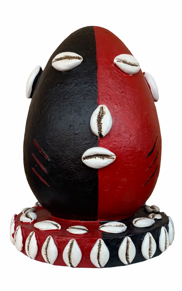 Plaster Elegua Head Statue (Red & Black) 8""
