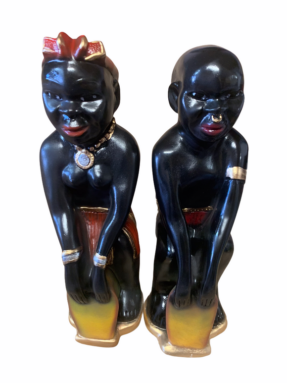Double Male & Female Congo Drumming Statue 18