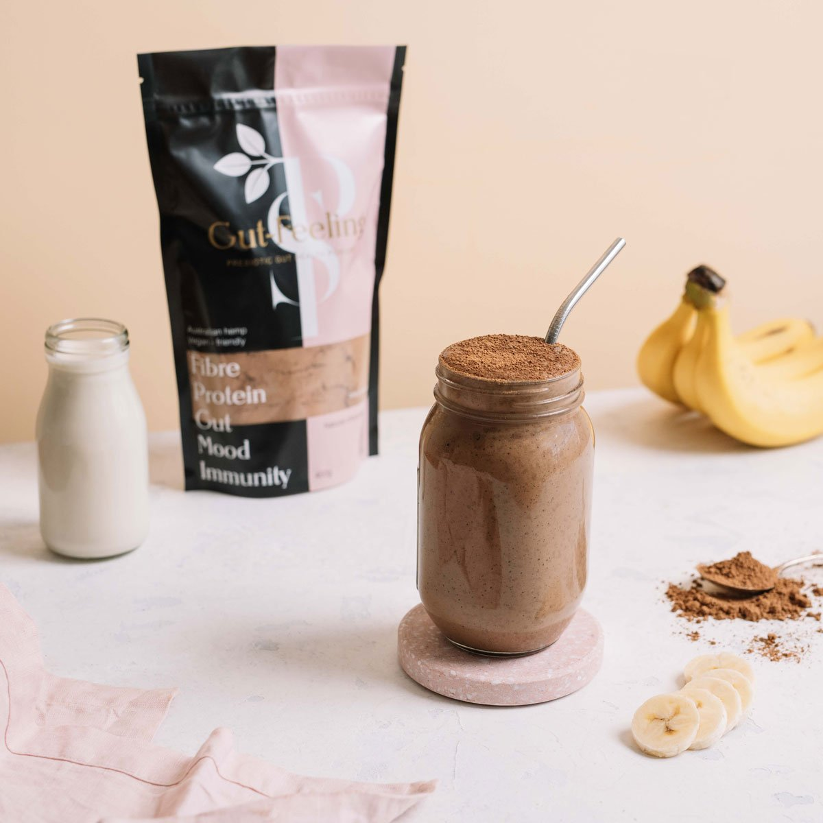 Plant-based Prebiotics with plant protein, fibre and organic raw cacao