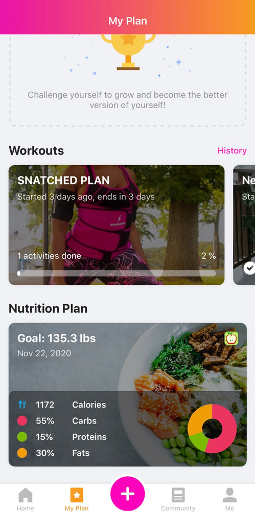 snatched fitness app for curvy workout plans, nutrition guide, meal plans to motivate women to reach body goals